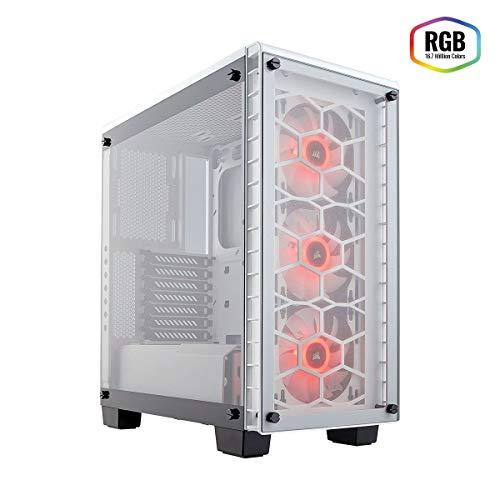 Corsair Crystal 460X RGB - Caja de PC, Mid-Tower ATX Compacto, Ventana Lateral Cristal Templado con Ventilador RGB, Blanco
