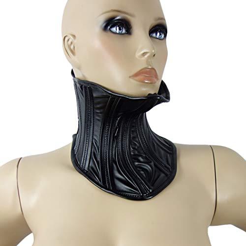 Fetisch Hals-Korsett, Frauen BDSM Bondage Halsband, abschließbare Verschluß-Schnallen und eingearbeitete Stützstreben, Lederoptik schwarz - SEE-X Damen Halsbänder Mod-Nr 10413