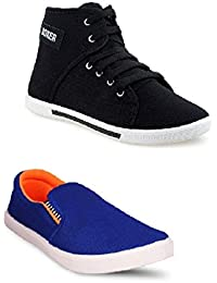 STYLIVO Combo Pack Of Casual Black Sneaker & Royal Orange Loafer Shoes For Men's