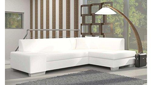 Justhome fabio divano angolare divano letto finta pelle (axlxp): 73x268x167 cm bianco penisola a destra