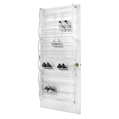 HOUSE OF QUIRK Over-The-Door 36-Pair Shoe Rack (White)
