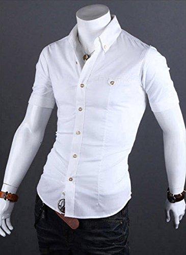 Herren Schick Unifarben Slim fit Kurzarm Sommer Freizeithemd Herrenhemden Weiß