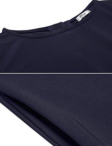 Meaneor Robe Plissé Femme Manches Longues Boutons Arrière Asymétrique avec Poche Bleu Marine