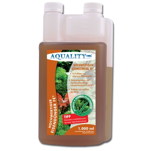 AQUALITY Eisendünger FE² 1.000 ml (Enthält den wichtigen und unentbehrlichen Pflanzennährstoff Eisen FE² für kräftigen und sattgrünen Pflanzenwuchs im Aquarium)