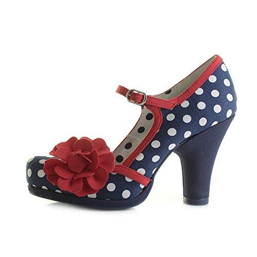 Ruby Shoo Damen Schuhe Hannah Punkte Rosen Pumps Dunkelblau / Rot mit weißen Dots