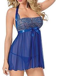 Mujer Conjuntos de lencería Fossen Encaje Transparente interior Pijamas Vestido con Tangas del Encaje para Mujer