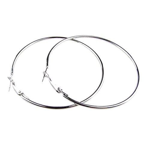 Qingsun Mädchen Übertreibung Große Ohrringe Runde Ohrringe Silber (1 Paar)
