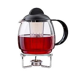 """Boral Teekanne mit Stövchen Set """"Clear"""" 1,8 l Teekanne aus Glas mit Siebeinsatz und Teewärmer aus Glas Ø 14 cm"""
