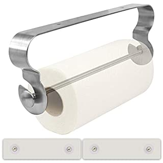Self-Adhesive Kitchen Roll Holder for All Sizes Paper Towels. 2 Adhesives, Peel & Stick, No Tools Needed, Removable. Quality SUS304 Stainless Steel Won't Rust or Corrode. Wall Mount or Under Cabinet