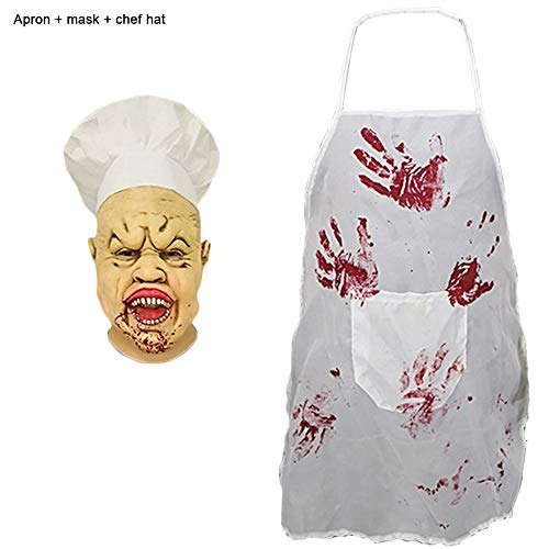 Gruseligsten Kostüm Zombie - Nightghost Halloween Horror Chef Masken, Cook Zombie Maske, Scary Kostüm Spielt Helm, Horriblewig Film Und Game Work Make-Up Requisiten (Hut, Schürze, Maske)