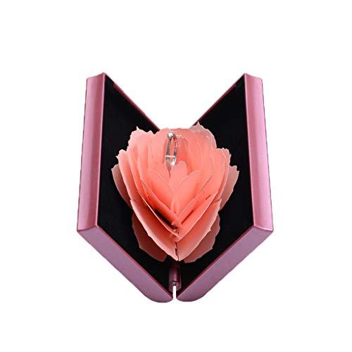 Valentinstag-Karte, Ring Box Rose Blume Verlobungsring Box Ring Bearer Box zum Valentinstag, I love you Herz, blau & rot, 3D-Pop-Up-Karte Valentinstag, Hochzeitskarte, Hochzeit, Liebe (Rosa)