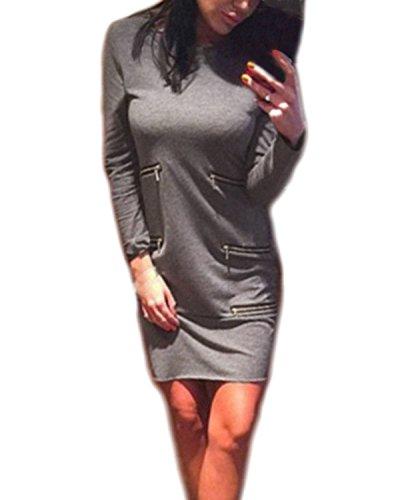 ZANZEA Femme Sexy Zip Manches Longues Bohême Mini Robe Soirée Col Rond Pencil Dress Partie Longue Top Clubwear Gris