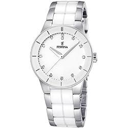 Festina F16531/3 - Reloj analógico de pulsera para mujer (mecanismo de cuarzo, esfera blanca y correa de acero inoxidable multicolor)