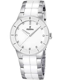 Festina F16531/3 - Reloj analógico de pulsera para mujer (mecanismo de cuarzo, esfera blanca y correa de acero inoxidable