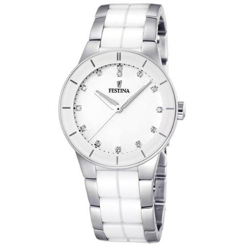 Festina F16531/3 – Reloj analógico de pulsera para mujer (mecanismo de cuarzo, esfera blanca y correa de acero inoxidable multicolor)
