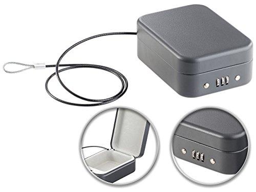 Xcase Reisesafe: Mini-Stahl-Safe für Reise & Auto, Zahlenschloss, Sicherungskabel, 0,7l (Mini Safes mit Stahlkabel) (Mit Schloss Mini-tresor)