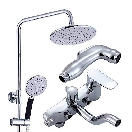 Creative Light- Vier-Geschwindigkeit Dusche Set, Easy Fit Rain Head Runde Dusche, Hand Spray + 180 Grad Mixer + Spritzpistole