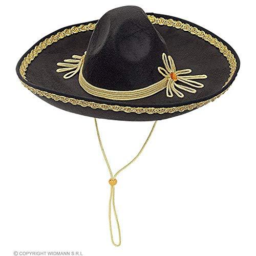 Texaner Kostüm - Lively Moments Sombrero in schwarz mit Goldfarbener Kordel / Mexikanerhut / Kostüm Zubehör
