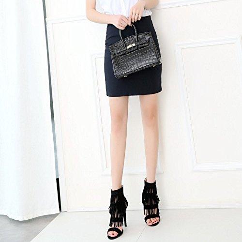 COOLCEPT Femmes Mode Orteil ouvert Enveloppement de cheville Sandales Retro Talons hauts Chaussures with Franges 533 Noir