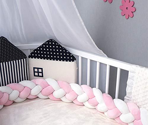 GLITZFAS Baby Krippe Stoßstange Nestchenschlange 4 Weben Bettumrandung für Babybett Kinderbett Bettausstattung (Rosa+Weiß,3 m) - Kinderbett Bettwäsche Weiße Stoßstange