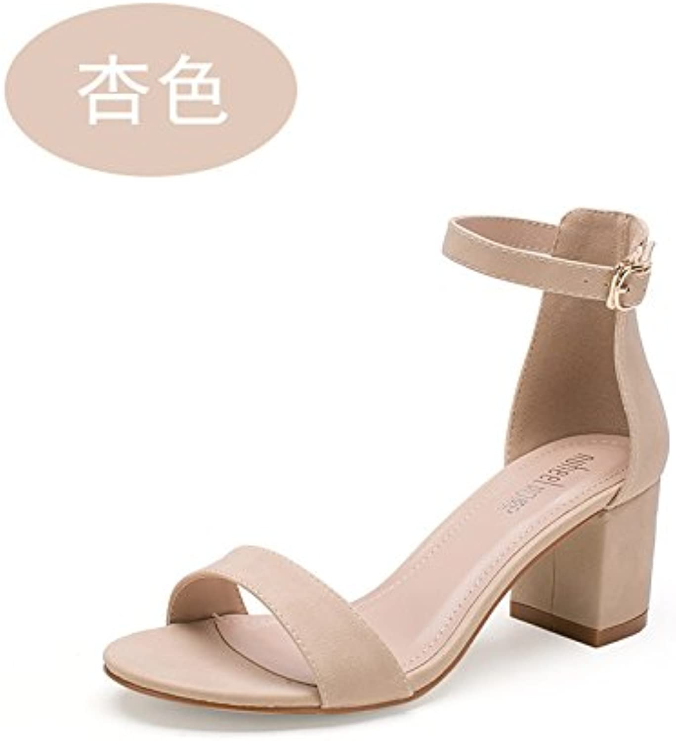 c769835265a SHOESHAOGE Summer Roma Sandals Shoes Heel Heels With A A A Thick Heel Shoes  Women S Shoes B0753LLGVP Parent 2911a2