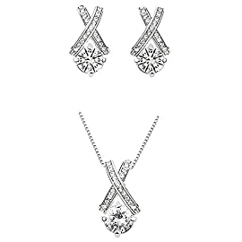 Majesto 18k White Gold Plated X Crossing Pendant Necklace and Stud Earrings Jewelry Set for Women Teen Girls