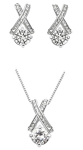 - 415zZnQH7 2BL - Majesto – 18k White Gold Plated X Crossing Pendant Necklace and Stud Earrings Jewelry Set for Women Teen Girls
