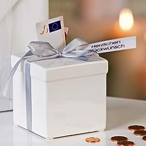 Spardose Geschenk aus Keramik mit Kunststoffschloß und Schlüssel 8 x 8 cm