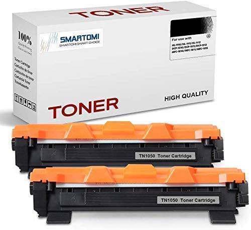 SMARTOMI 2er-Pack TN1050 Kompatible Schwarze Tonerkartuschen Brother TN1050 zur Verwendung mit der Druckerserie Brother HL-1110 HL-1112 HL-1212 HL-1210 DCP-1510 DCP-1610 DCP-1612 1512 MFC-1810 1910