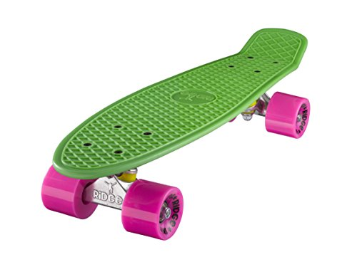 Ridge Skateboard 55 cm Mini Cruiser Retro Stil In M Rollen Komplett U Fertig Montiert Grün Rosa, Small Bone China