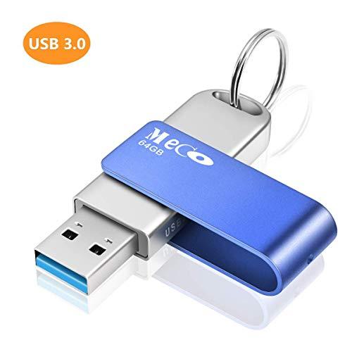 USB Stick 64GB, MECO ELEVERDE USB 3.0 Memory Stick Aluminium mit Schlüsselring Speicherstick USB Flash Drive Weihnachten/Geburtstag Geschenk für School, Büro,Kinder und Home