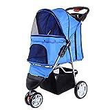LIRUI 3 Räder Kinderwagen Hund Katze Cart Puppy Pet Stroller Folding Pet Carrier Für Reisen Zu Fuß,Blue