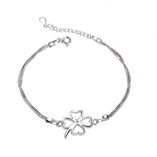 Kanggest vierblättriges Kleeblatt Silber Armband Damen Armband Damen  Schmuck Armkette Geschenk für Damen (Silber) af291204e0