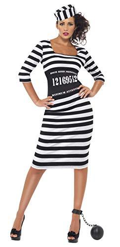 Smiffys Damen Sträfling Kostüm, Kleid, Taillenmieder und Mütze, Größe: M, 22119
