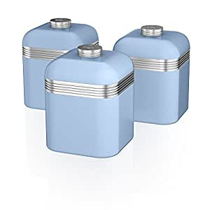 kitchen canisters blue swan swka1020bln set of 3 retro storage canisters blue 12962