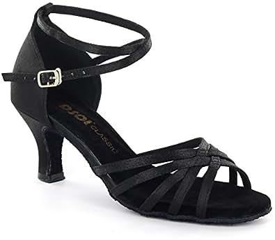 DSOL Damen-Tanzschuhe für lateinamerikanische Tänze DC261303/DC261305, Schwarz - Schwarz  - Größe: 41.5