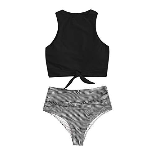 VBWER Bikini Damen Set Push Up Zweiteilige Neckholder Bikini High Waist Schwimmanzug Bikinihose Split Badeanzug Strandkleidung Sportliches Bademode