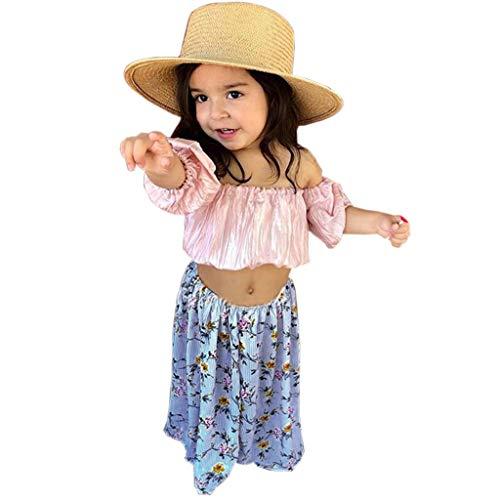 LEXUPE Kleinkind Kinder Baby Mädchen Outfits Kleidung Schulterfrei T-Shirt + Blumenrock Set(Rosa,110)