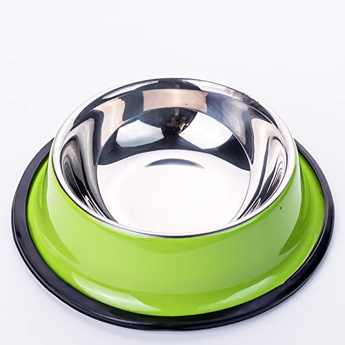 Pet Supplies,Dog Bowls,Dogs,Cat Bowls,AnimalsPet stainless steel dog pot Golden Retriever dog bowl drinking water dog tray large dog special dog rice bowl cat bowl cat pot, grass green, medium Golden Rice Bowl