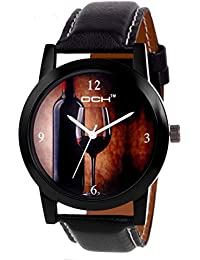 DCH IN-81 Black Brown Wine Glass Analogue Wrist Watch For Men And Boys