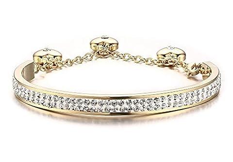 Edelstahl vergoldet 2Reihe Kristall Pavé Damen-Armreif Armbänder mit 3Herz Charme