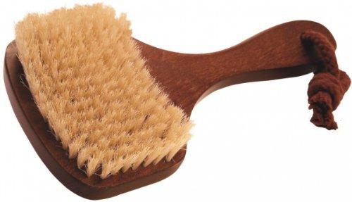 Brosse de bain angulaire soies naturelles, bois clair