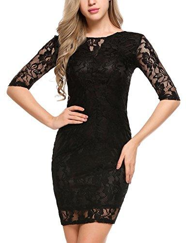 ACEVOG Damen Spitzenkleid Etuikleid Figurbetont Kurzarm Minikleid Cocktail Party Kleid Abendkleid Schwarz