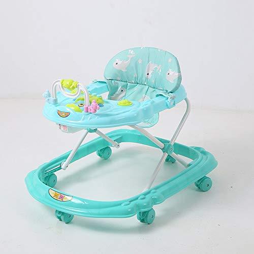 Btybess Walker mit Musik und Spielwaren mit Einstellbarer Höhe, faltbar Aktivität Walker Helfer mit Einstellbarer Höhe Baby-Tätigkeits-Walker mit hohen Rückenlehne Gepolsterte Sitz (Color : Grün)
