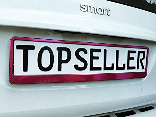 2 x Kennzeichenhalter Nummernschildhalter Pink T Chrom Metallic Autozubehör Auto