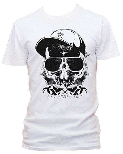 Thug Cooles Party Herren Shirt Körperbetont, weiss, XXL