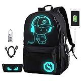 Coole Männer Rucksack Mittelschule Schultasche Jungen und Mädchen Outdoor-Rucksack Anime Leuchtende Rucksack-Tasche Laptop-Tasche,Black,Large