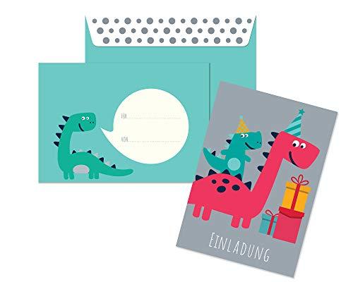 Friendly Fox Einladung Dino - 12er Set Einladungskarten Dinosaurier zum Kindergeburtstag Junge Mädchen - witzige Einladungskarten Geburtstag - Geburtstagskarte Dino (grau)