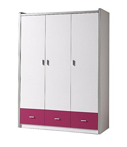 Kleiderschrank Valerie weiß pink B 141 cm H 202 cm Jugendzimmer Kinderzimmer Schlafzimmer Drehtürenschrank Wäscheschrank Schrank