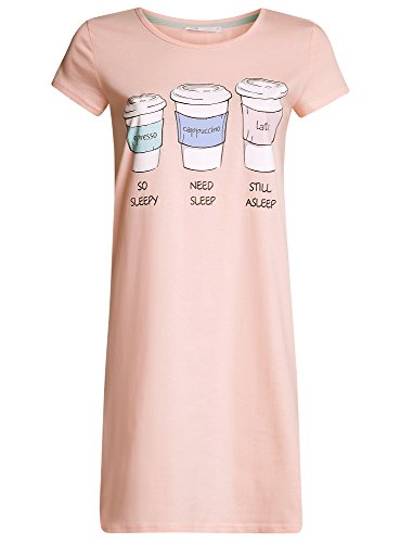 oodji Ultra Damen Baumwoll-Hauskleid mit Druck Rosa (4010P)